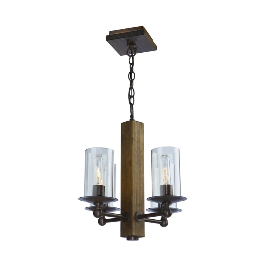 Artcraft Lighting Legno Rustico 16-in 4-Light Dark natural pine/brunito bronze Rustic Clear Glass Candle Chandelier