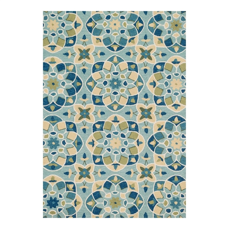 Loloi Francesca Turquoise/Sea Rectangular Indoor Handcrafted Area Rug (Common: 5 x 8; Actual: 5-ft W x 7.5-ft L)