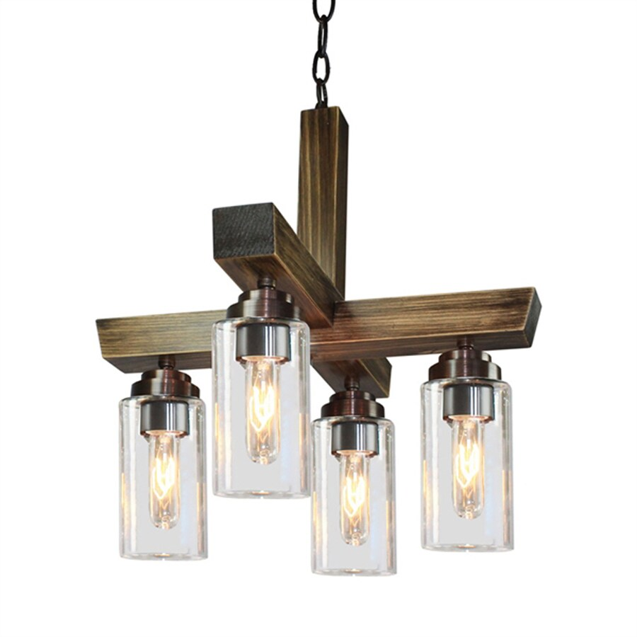 Artcraft Lighting Home Glow 17.5-in 4-Light Distressed Pine Rustic Hardwired Clear Glass Linear Chandelier