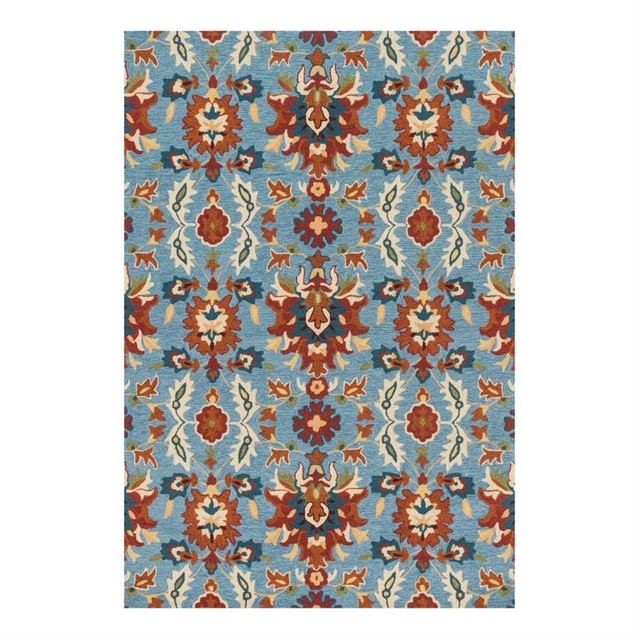 Loloi Francesca Blue/Spice Rectangular Indoor Handcrafted Area Rug (Common: 8 x 10; Actual: 7.5-ft W x 9.5-ft L)