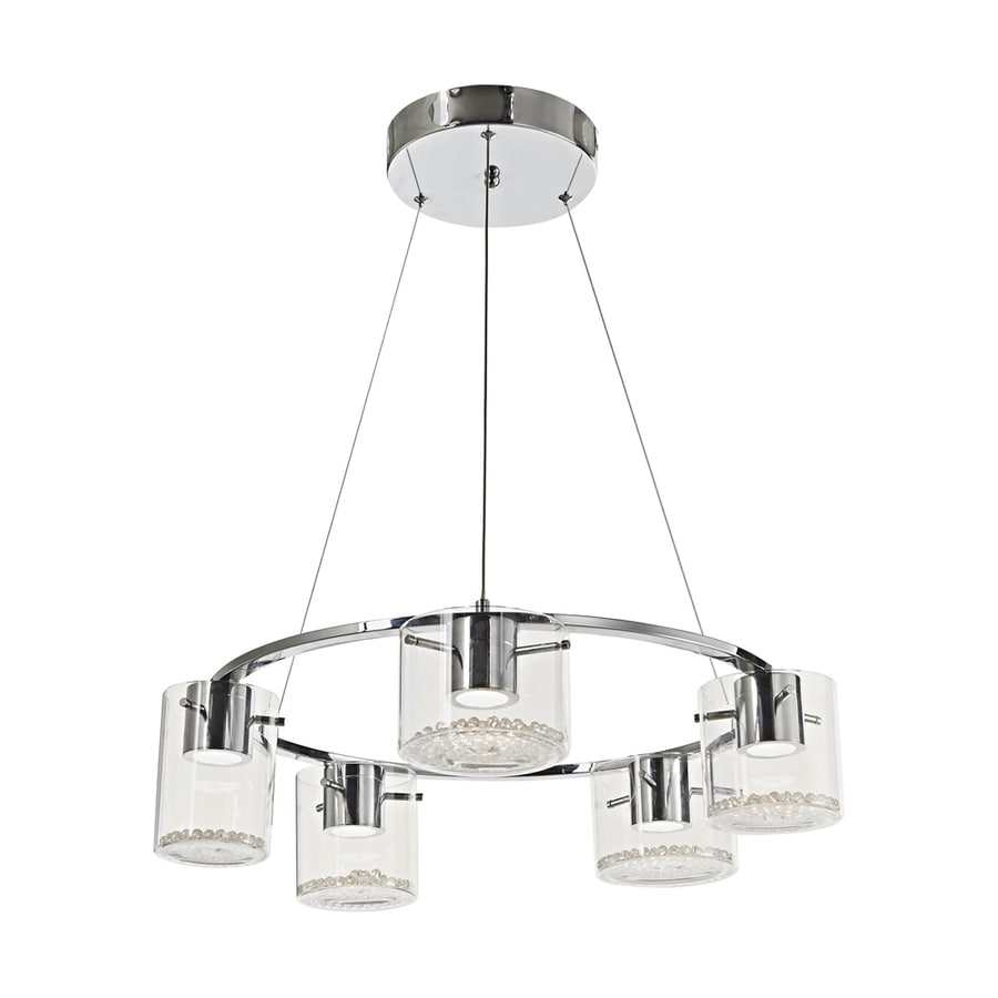 Artcraft Lighting Belmont 25-in 5-Light Chrome Clear Glass Shaded LED Chandelier