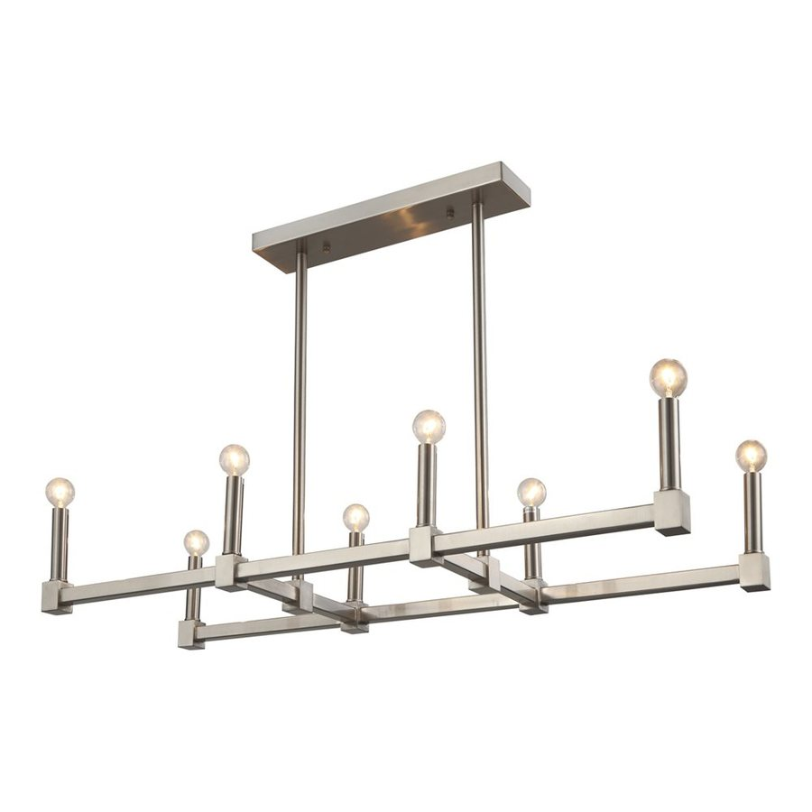 Bethel International 11.8-in 8-Light Satin nickel Linear Chandelier