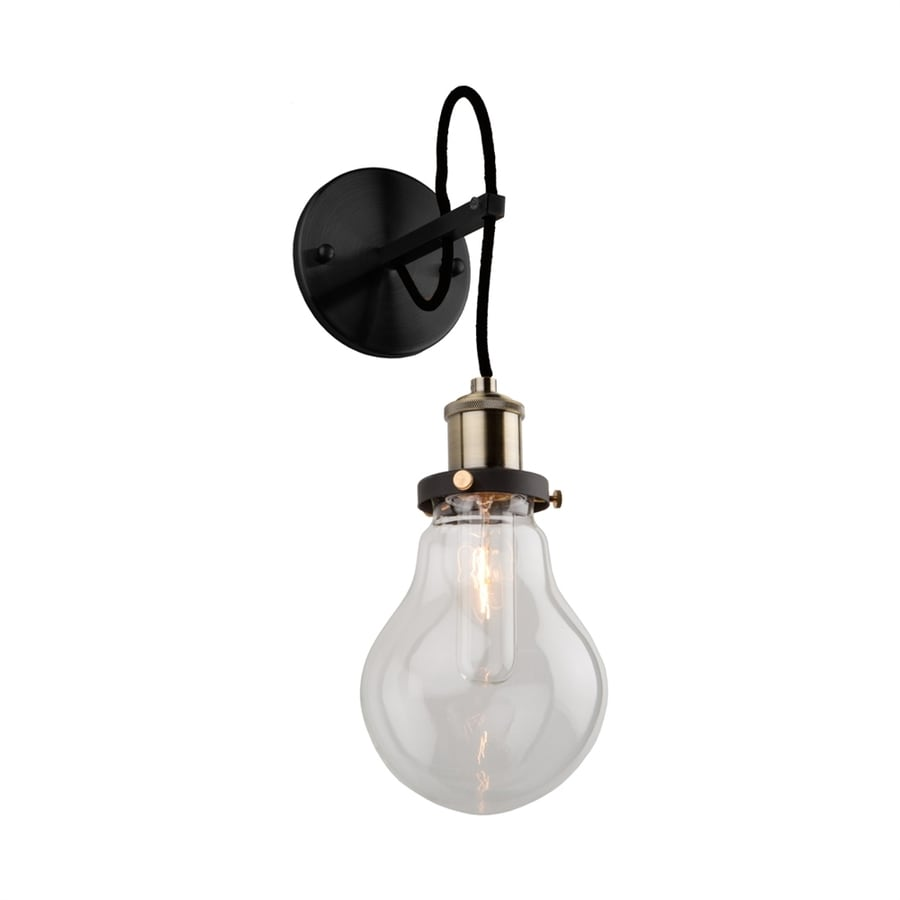Artcraft Lighting Edison 5.25-in W 1-Light Matte black/vintage brass Arm Wall Sconce
