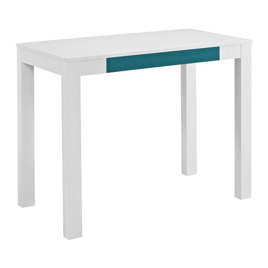 Ameriwood Home Parsons Contemporary White Teal Writing Desk