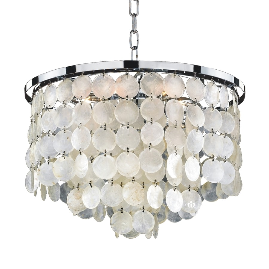 Glow Lighting Bayside 16-in 6-Light Silver pearl/polished chrome Coastal Waterfall Chandelier