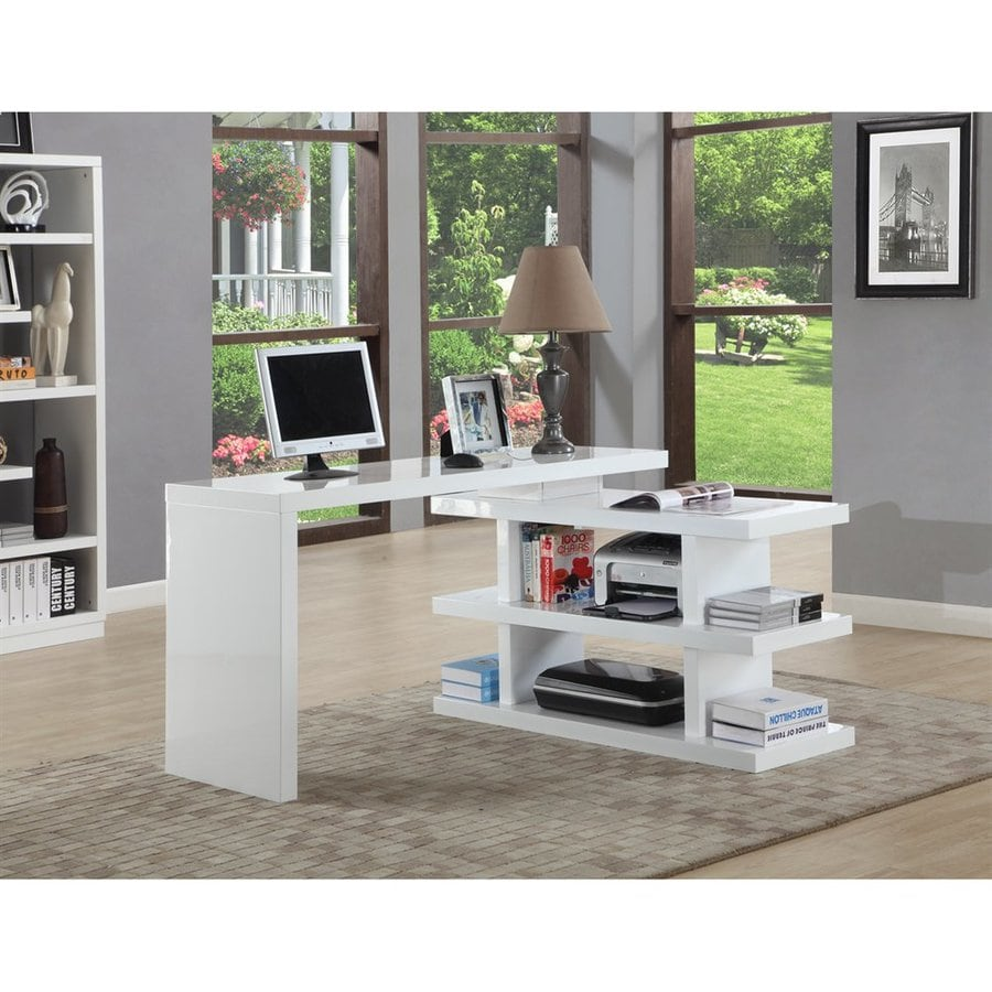 Chintaly Imports Contemporary Gloss white Adjustable Desk