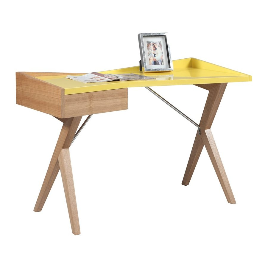 Chintaly Imports Contemporary Gloss Yellow Writing Desk