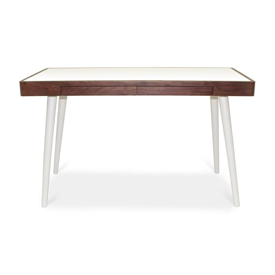 AEON Furniture Oslo Contemporary White/Walnut Writing Desk