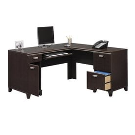 Bush Furniture Tuxedo Transitional Mocha Cherry L Shaped Desk