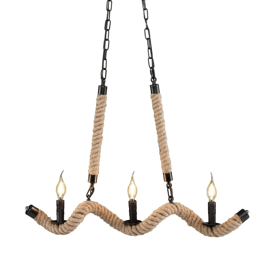 Boston Loft Furnishings Taillefer 31-in 3-Light Matte black Coastal Candle Chandelier