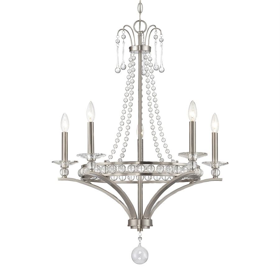Cascadia Lighting Alana 27.12-in 5-Light Satin nickel Crystal Candle Chandelier