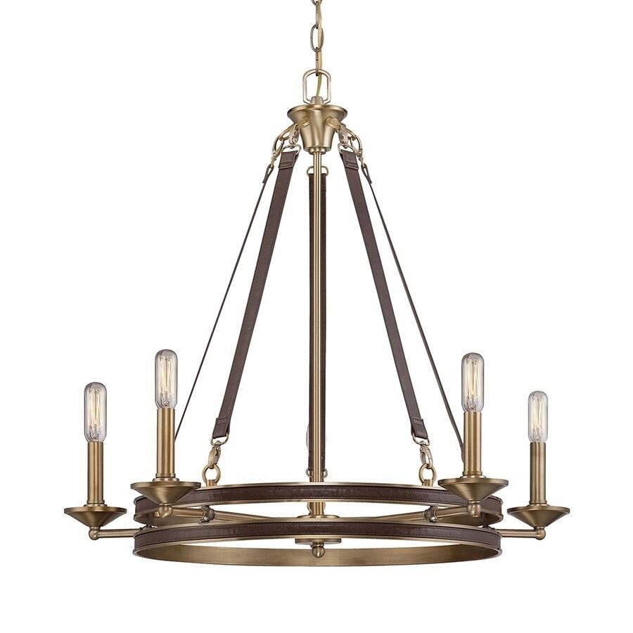 Cascadia Lighting Harrington 28-in 5-Light Rubbed brass Candle Chandelier