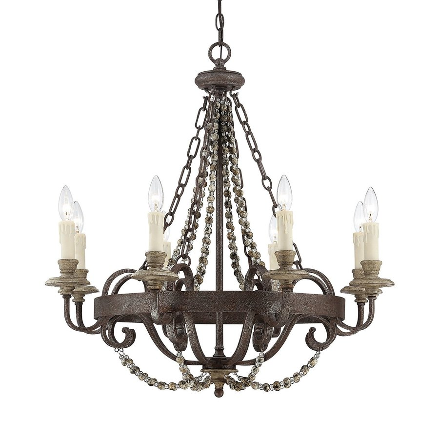 Cascadia Lighting Mallory 30-in 8-Light Fossil stone Vintage Candle  Chandelier - Shop Cascadia Lighting Mallory 30-in 8-Light Fossil Stone Vintage