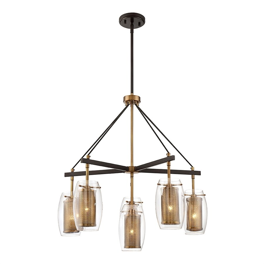 Cascadia Lighting Dunbar 28-in 6-Light Warm brass/bronze accents Clear Glass Cage Chandelier