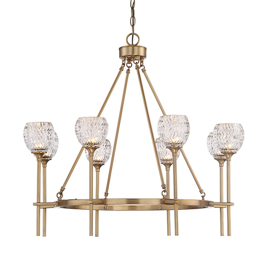 Cascadia Lighting Garland 31.625-in 8-Light Warm brass Textured Glass Shaded Chandelier