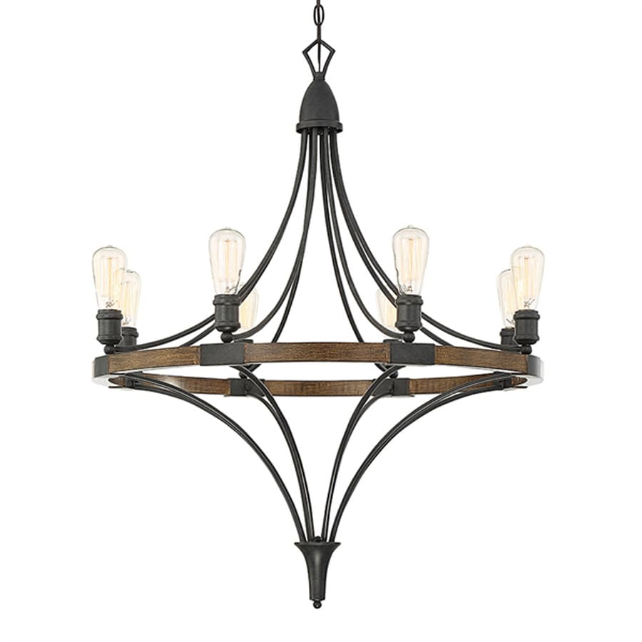 Cascadia Lighting Turing 31.125-in 8-Light Whiskey wood Industrial Candle Chandelier