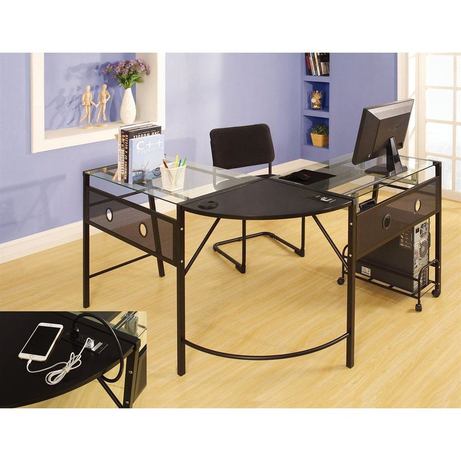 ACME Furniture Brielle Contemporary Clear L-shaped Desk