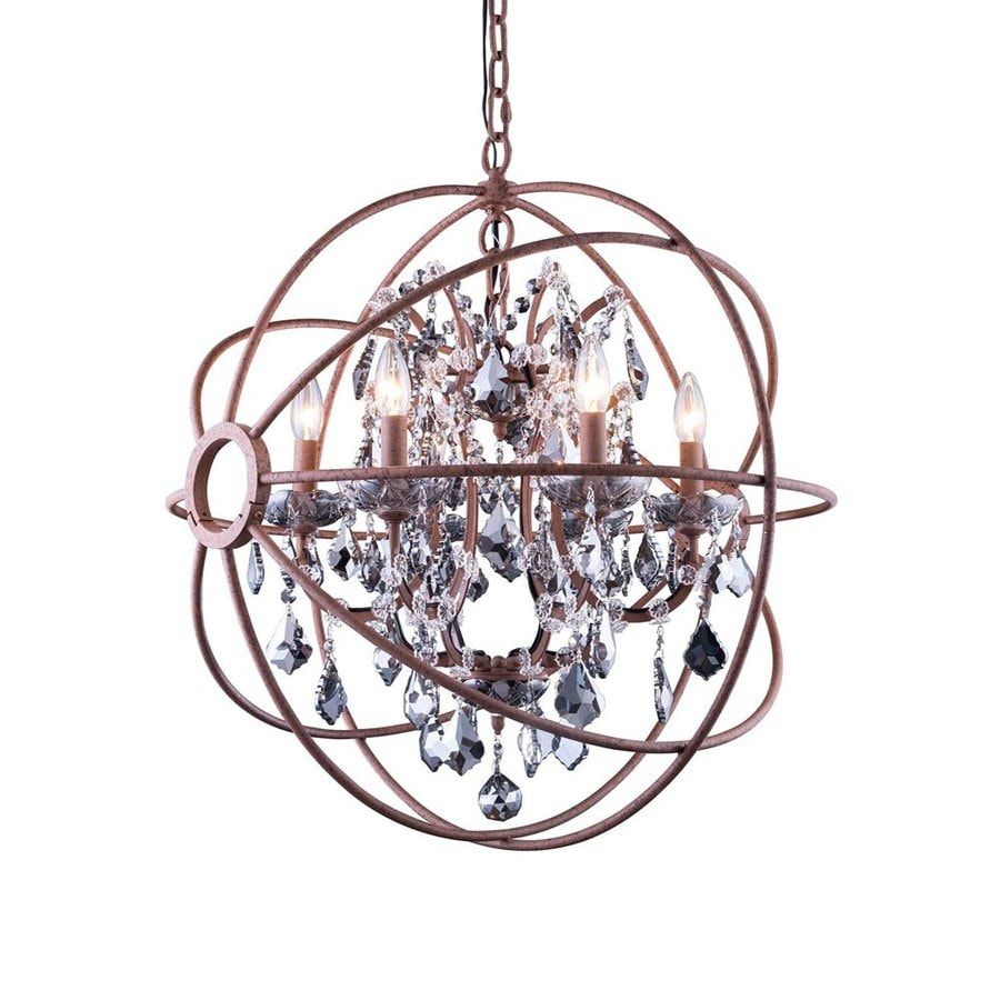 Elegant Lighting Urban 25-in 6-Light Red rusted paint Novelty Cage Chandelier