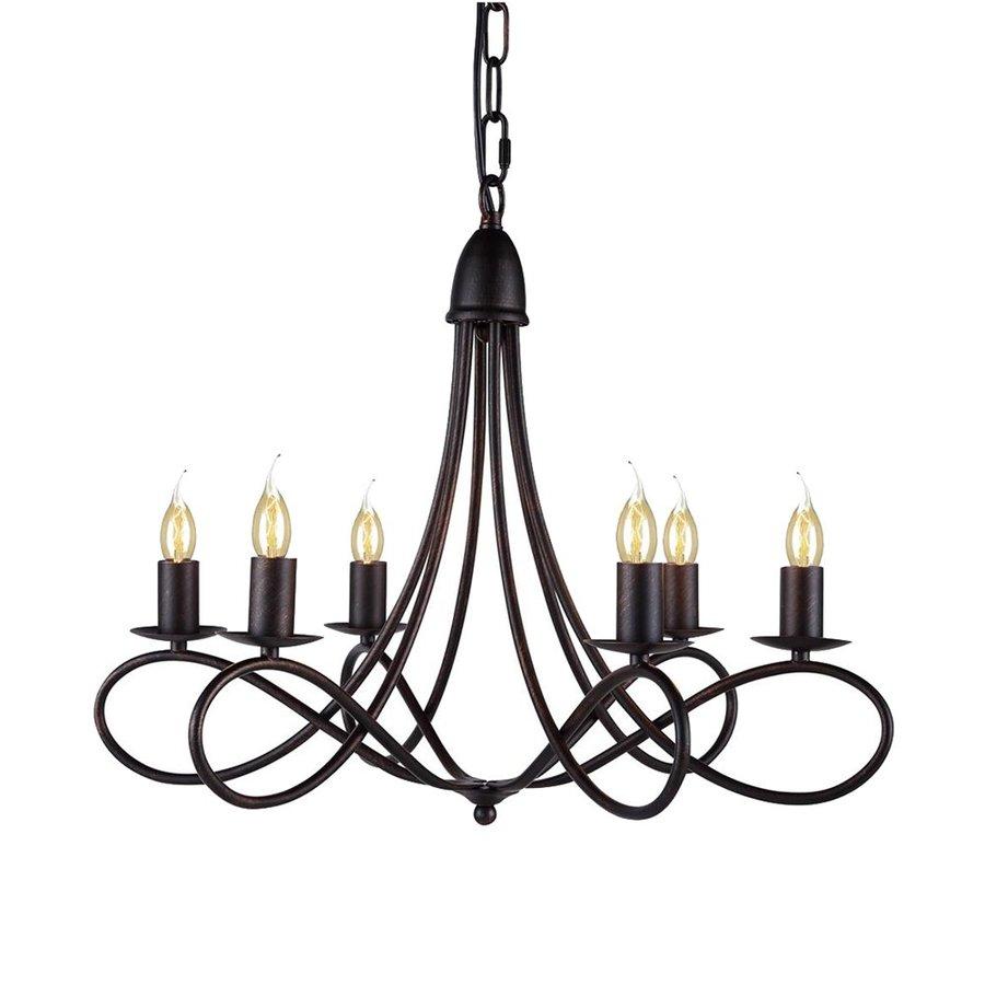 Elegant Lighting Lyndon 24-in 6-Light Dark bronze Candle Chandelier
