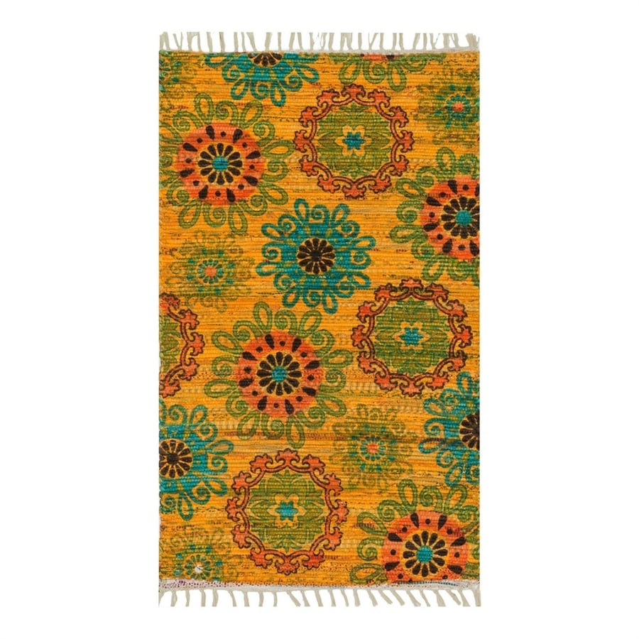 Loloi Aria Yellow/Orange Rectangular Indoor Handcrafted Nature Area Rug (Common: 4 x 6; Actual: 3.5-ft W x 5.5-ft L)