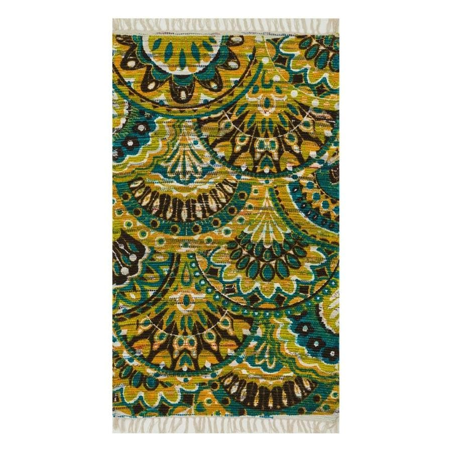 Loloi Aria Peacock/Yellow Rectangular Indoor Handcrafted Area Rug (Common: 4 x 6; Actual: 3.5-ft W x 5.5-ft L)