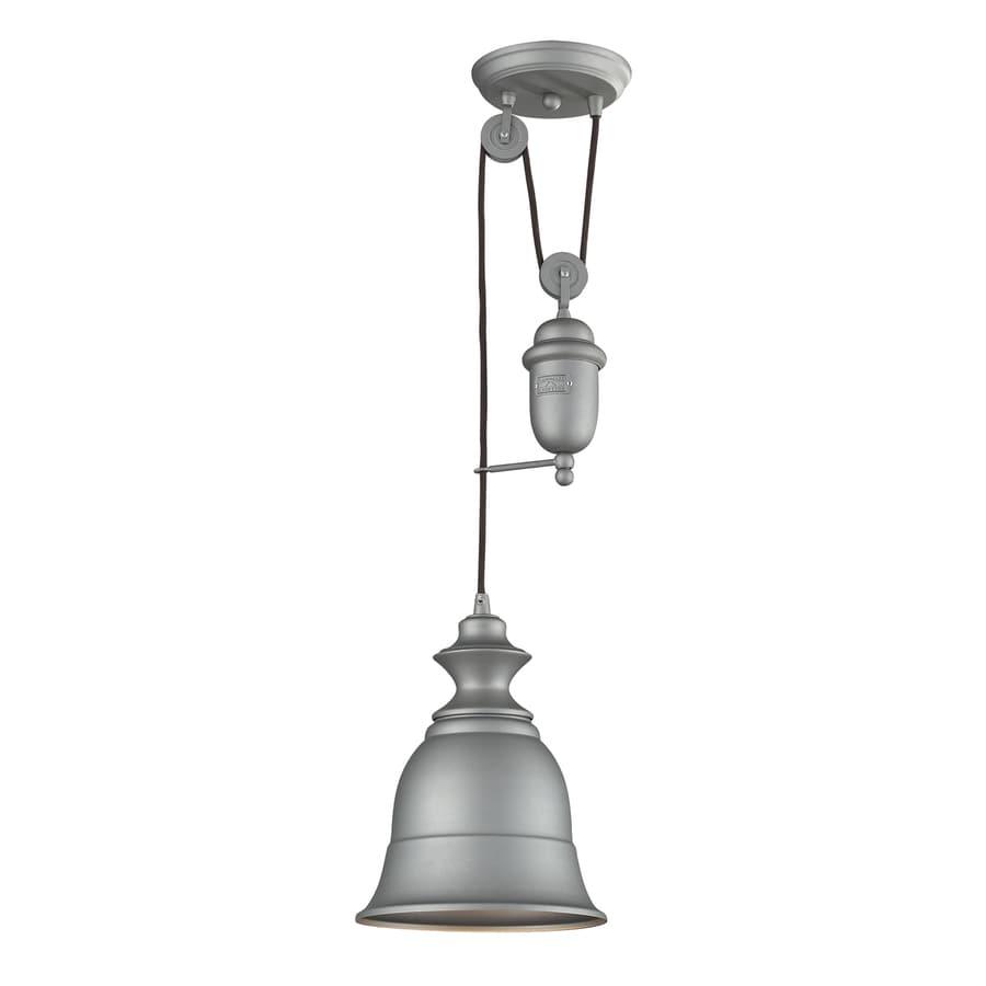 Westmore Lighting Crossens Park 8-in Aged Pewter Rustic Hardwired Mini Bell Pendant