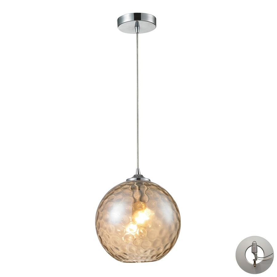 Westmore Lighting Lochmere 10-in Polished Chrome Hardwired Single Tinted Glass Orb Pendant