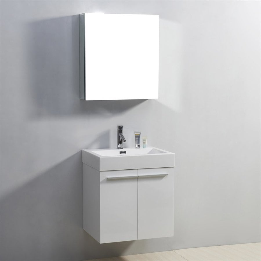 Virtu USA Midori White Integral Single Sink Bathroom Vanity with Polymarble Top (Common: 23-in x 18-in; Actual: 23.2-in x 17.9-in)