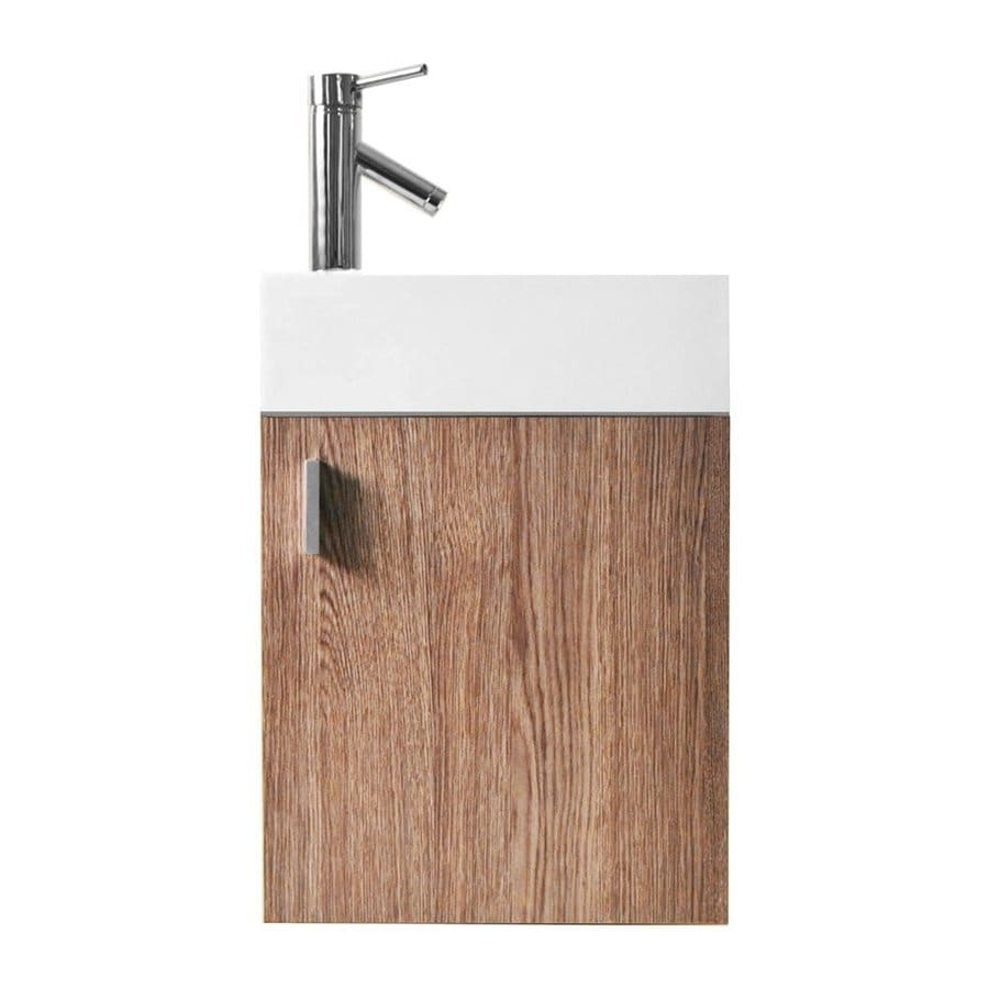 Virtu USA Light Oak Integral Single Sink Bathroom Vanity with Polymarble Top (Common: 16-in x 10-in; Actual: 15.9-in x 10.3-in)