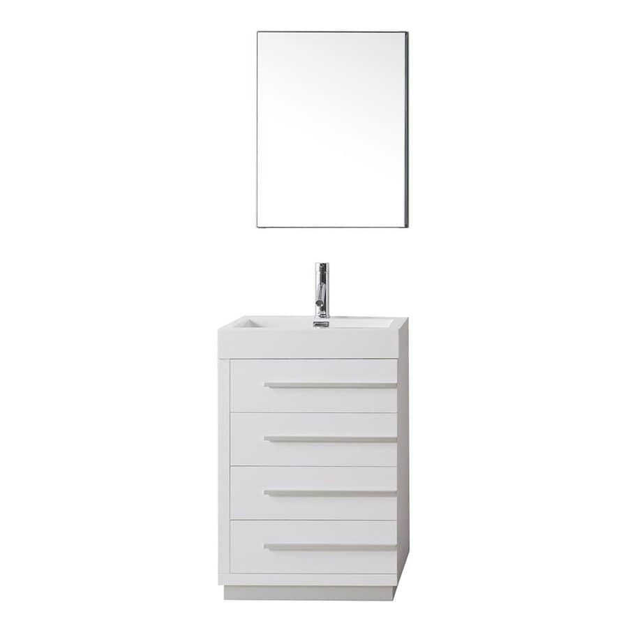 Virtu USA Bailey Gloss White Integral Single Sink Bathroom Vanity with Polymarble Top (Common: 22-in x 18-in; Actual: 22.4-in x 18.1-in)