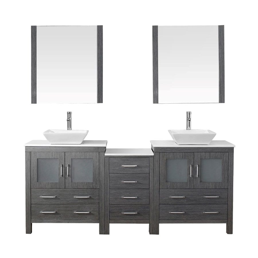 Merveilleux Virtu USA Dior Zebra Grey Vessel Double Sink Bathroom Vanity With  Engineered Stone Top (Common