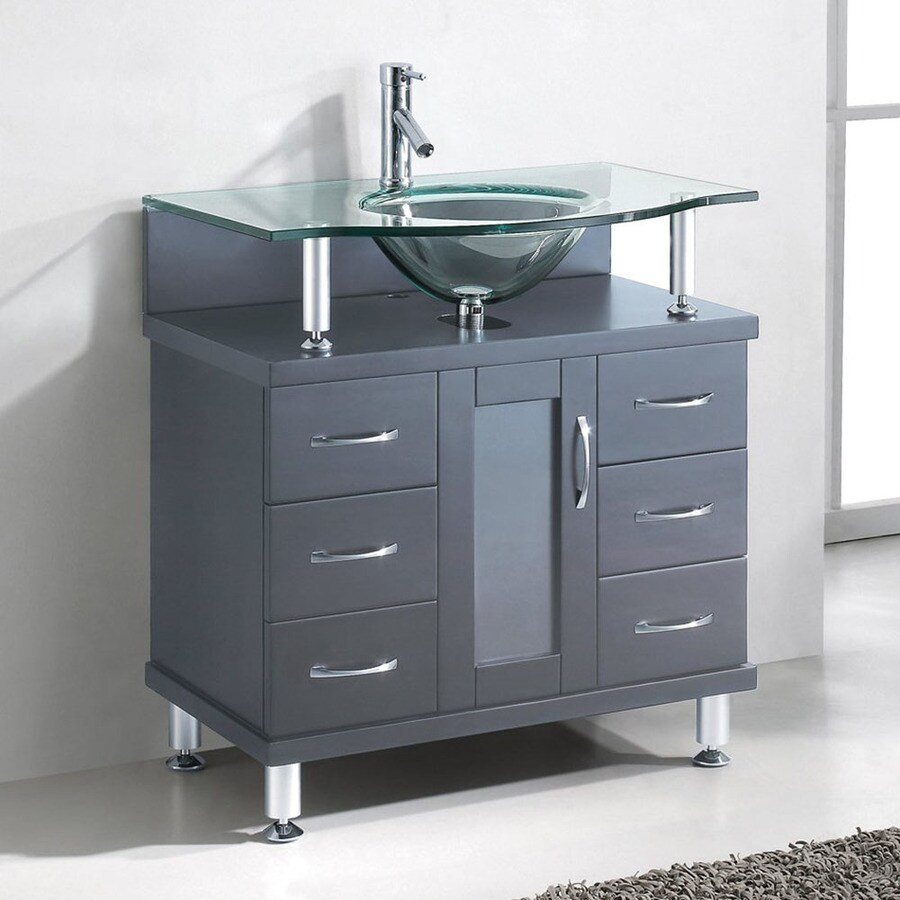 Virtu USA Grey Integral Single Sink Bathroom Vanity with Glass Top (Common: 32-in x 22-in; Actual: 31.9-in x 21.7-in)