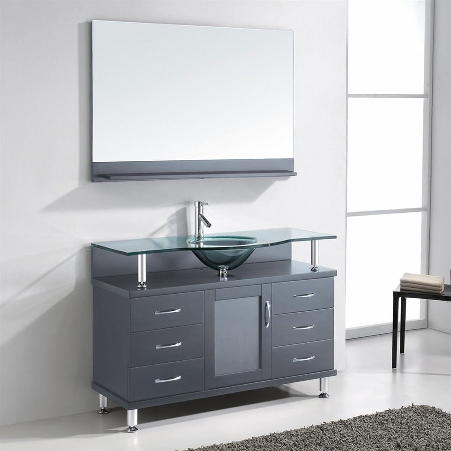 Virtu USA Grey Integral Single Sink Bathroom Vanity with Glass Top (Common: 47-in x 22-in; Actual: 47.2-in x 21.7-in)