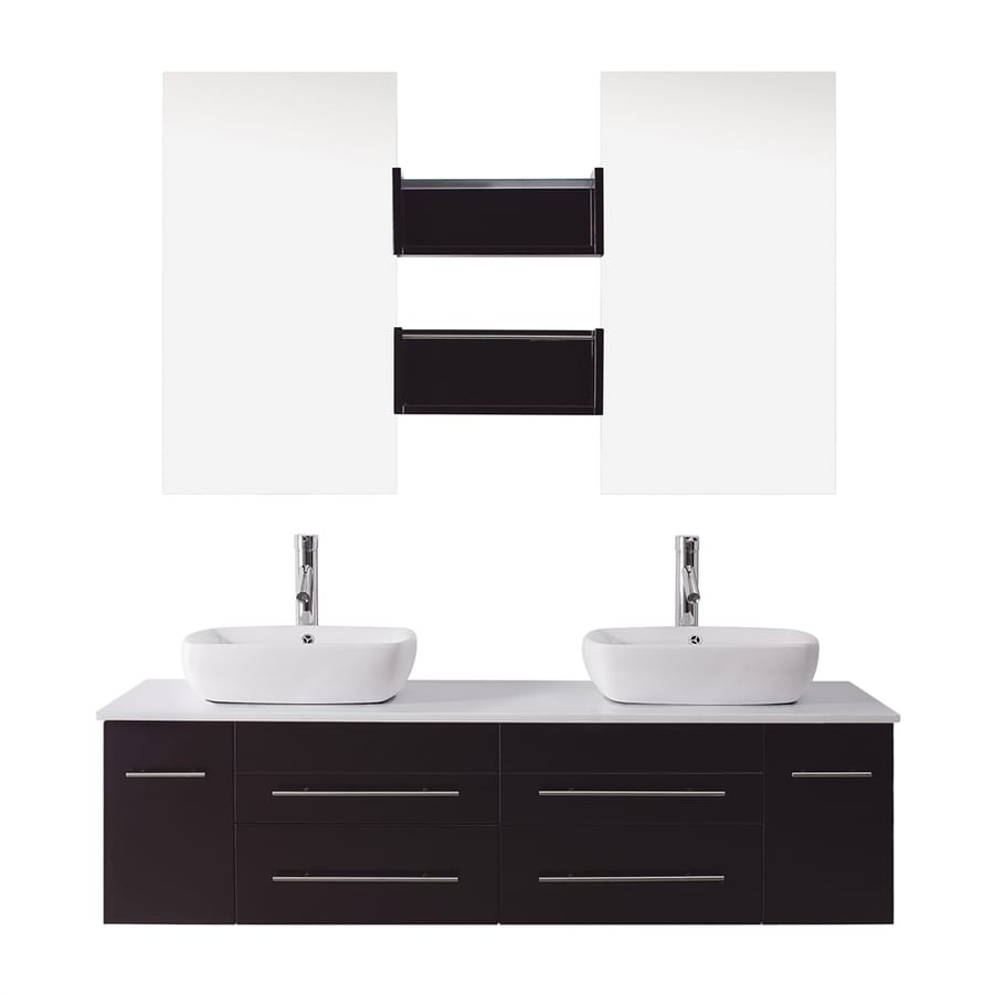 Virtu USA Espresso Integral Double Sink Bathroom Vanity with Cultured Marble Top (Common: 60-in x 20-in; Actual: 59.8-in x 20-in)