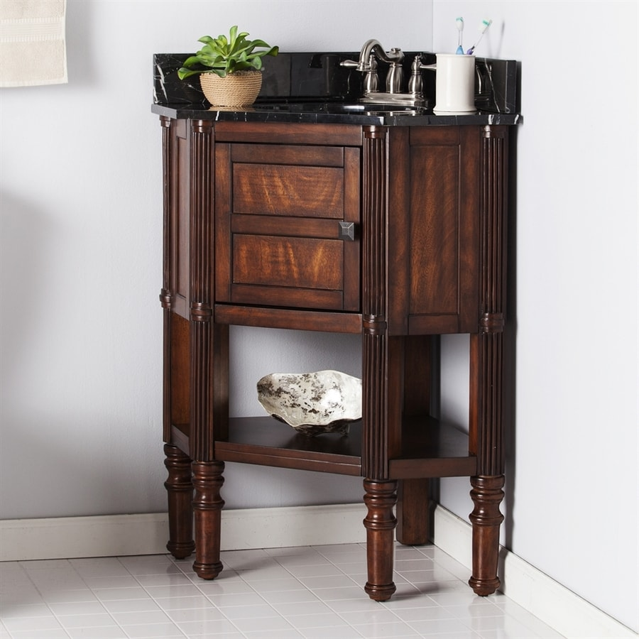 Boston Loft Furnishings Oak Saddle Undermount Single Sink Bathroom Vanity with Natural Marble Top (Common: 32-in x 23.5-in; Actual: 32.5-in x 23.25-in)
