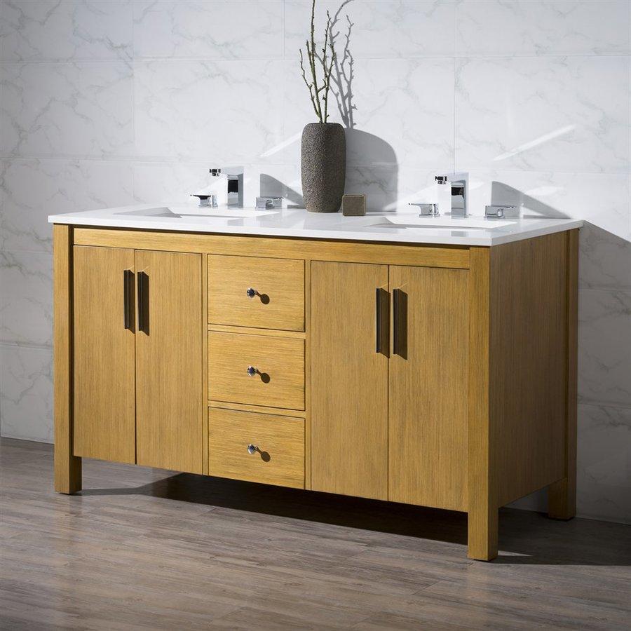 Stufurhome Windsor Undermount Double Sink Bathroom Vanity with Natural Marble Top (Common: 59-in x 22-in; Actual: 59-in x 22-in)