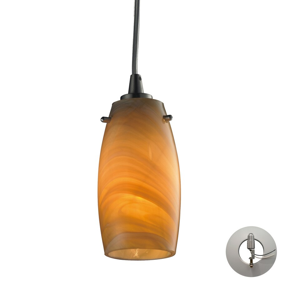 Westmore Lighting Petani 3-in Satin Nickel Hardwired Mini Art Glass Cylinder Pendant