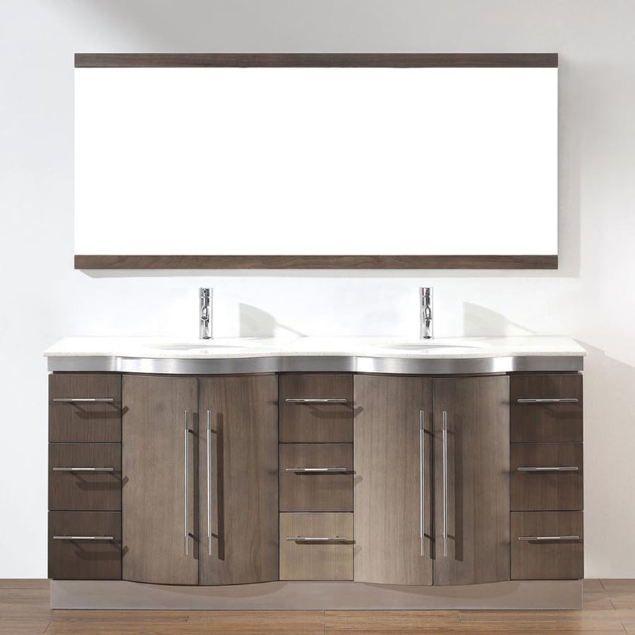 Spa Bathe Delucia Smoked Ash Undermount Double Sink Bathroom Vanity with Quartz Top (Common: 72-in x 22-in; Actual: 72-in x 22-in)