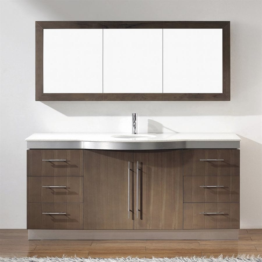 Spa Bathe Delucia Smoked Ash Undermount Single Sink Bathroom Vanity with Quartz Top (Common: 72-in x 22-in; Actual: 72-in x 22-in)