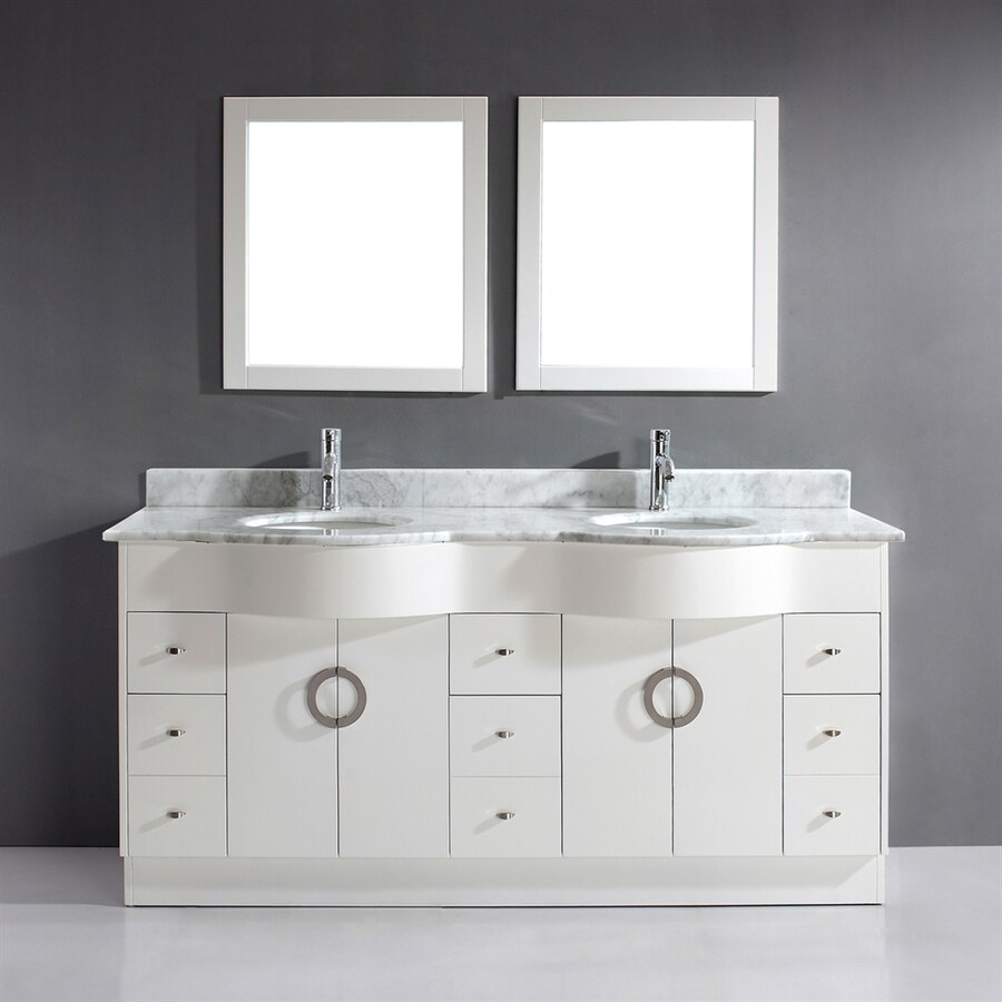 Spa Bathe Zuna White Undermount Double Sink Bathroom Vanity with Cultured Marble Top (Common: 72-in x 22-in; Actual: 72-in x 22-in)