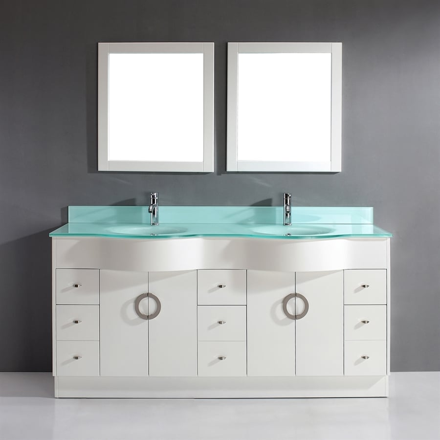 Spa Bathe Zuna White Double Sink Vanity With Mint Green Glass Top (Common:  72