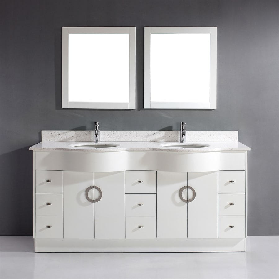 Shop Spa Bathe Zuna White Double Sink Vanity With Quartz Top Common 72 In X 22 In At
