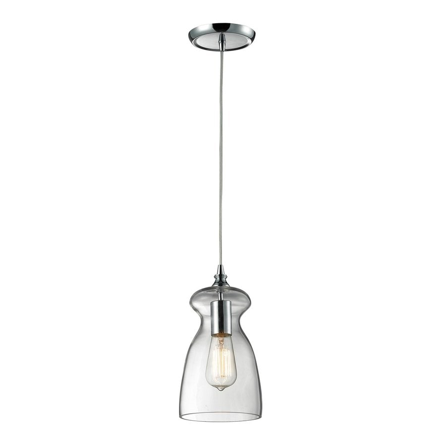 Westmore Lighting Alvingham 6-in Polished Chrome Hardwired Mini Clear Glass Bell Pendant