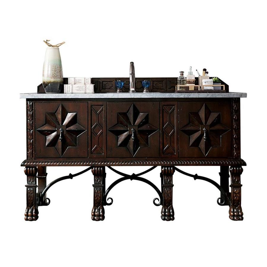 James Martin Furniture Balmoral Antique Walnut Bathroom Vanity With Top  (Common: 60 In