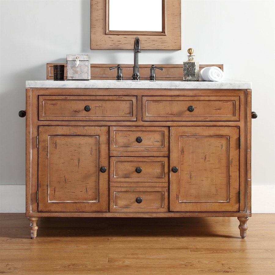 James Martin Furniture Copper Cove Driftwood Single Sink Vanity with White Cultured Marble Top (Common