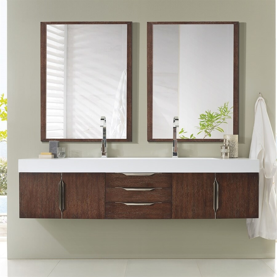 James Martin Furniture Coffee Oak Integral Double Sink Bathroom Vanity with Solid Surface Top (Common: 72-in x 19-in; Actual: 72.5-in x 19-in)