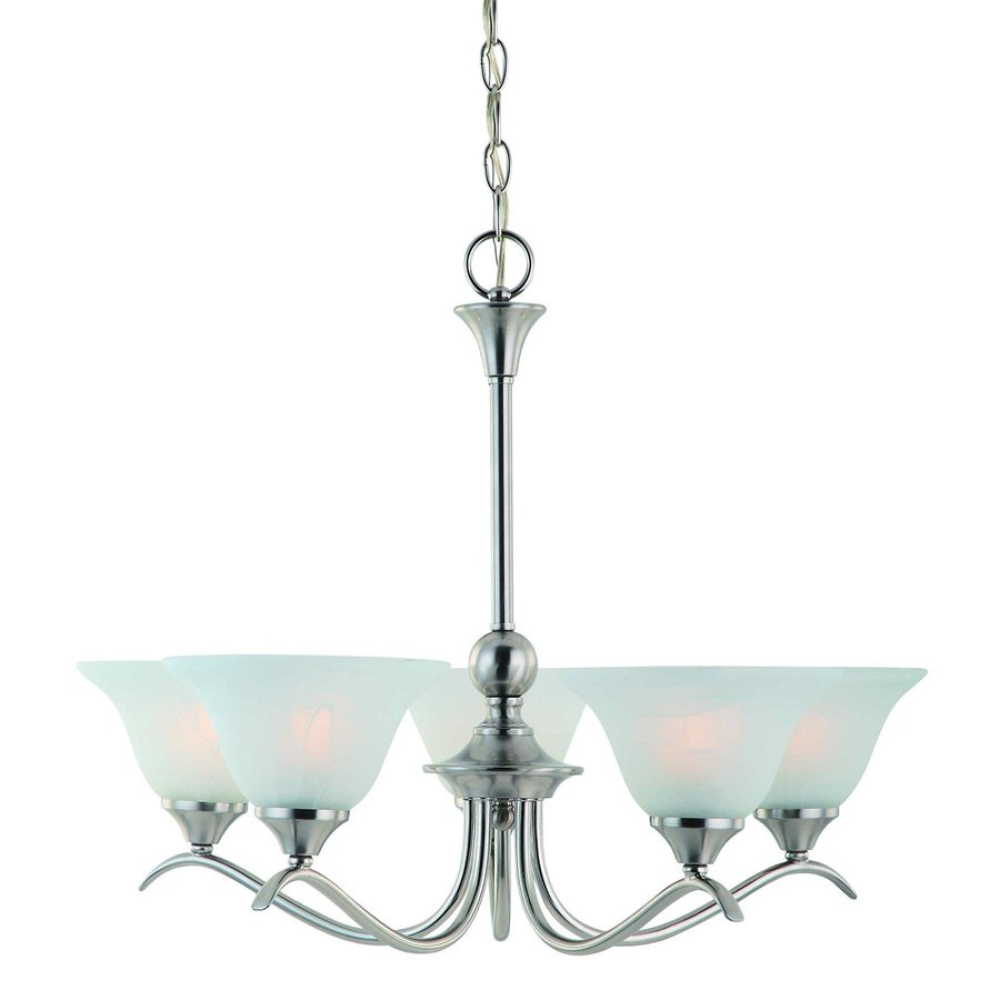 Hardware House Dover 25-in 5-Light Satin nickel Alabaster Glass Shaded Chandelier