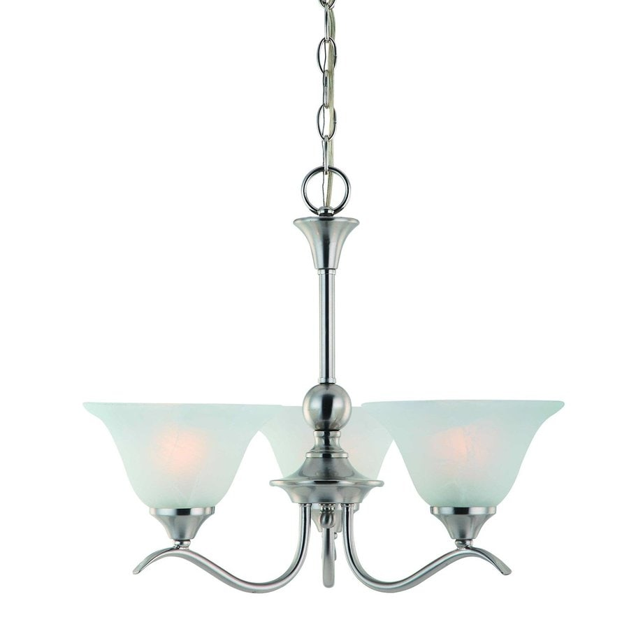 Hardware House Dover 20-in 3-Light Satin nickel Alabaster Glass Shaded Chandelier