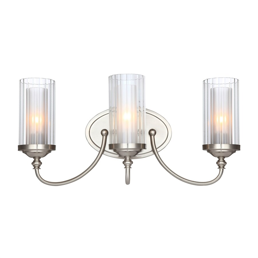 Hardware House Lexington 3-Light 9.5-in Satin nickel Cylinder Vanity Light