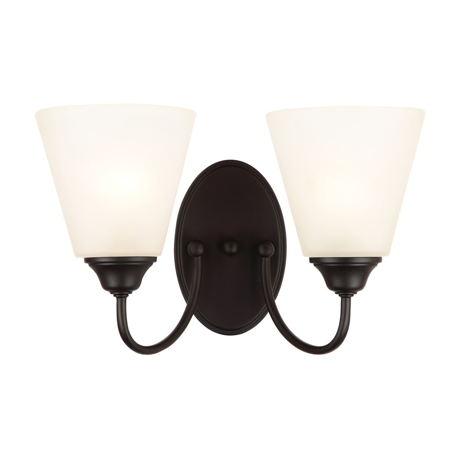 Shop Hardware House Galveston 2-Light 8.75-in Black Bell Vanity Light at Lowes.com